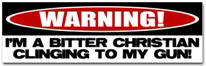 Warning: Christian with Gun Sticker (Bumper)