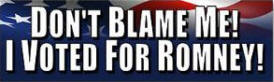 Don't Blame Me - I Voted for Romney